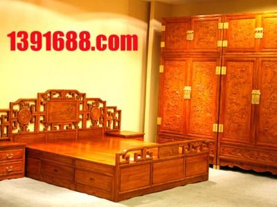 团购5件套卧室红木大床衣柜